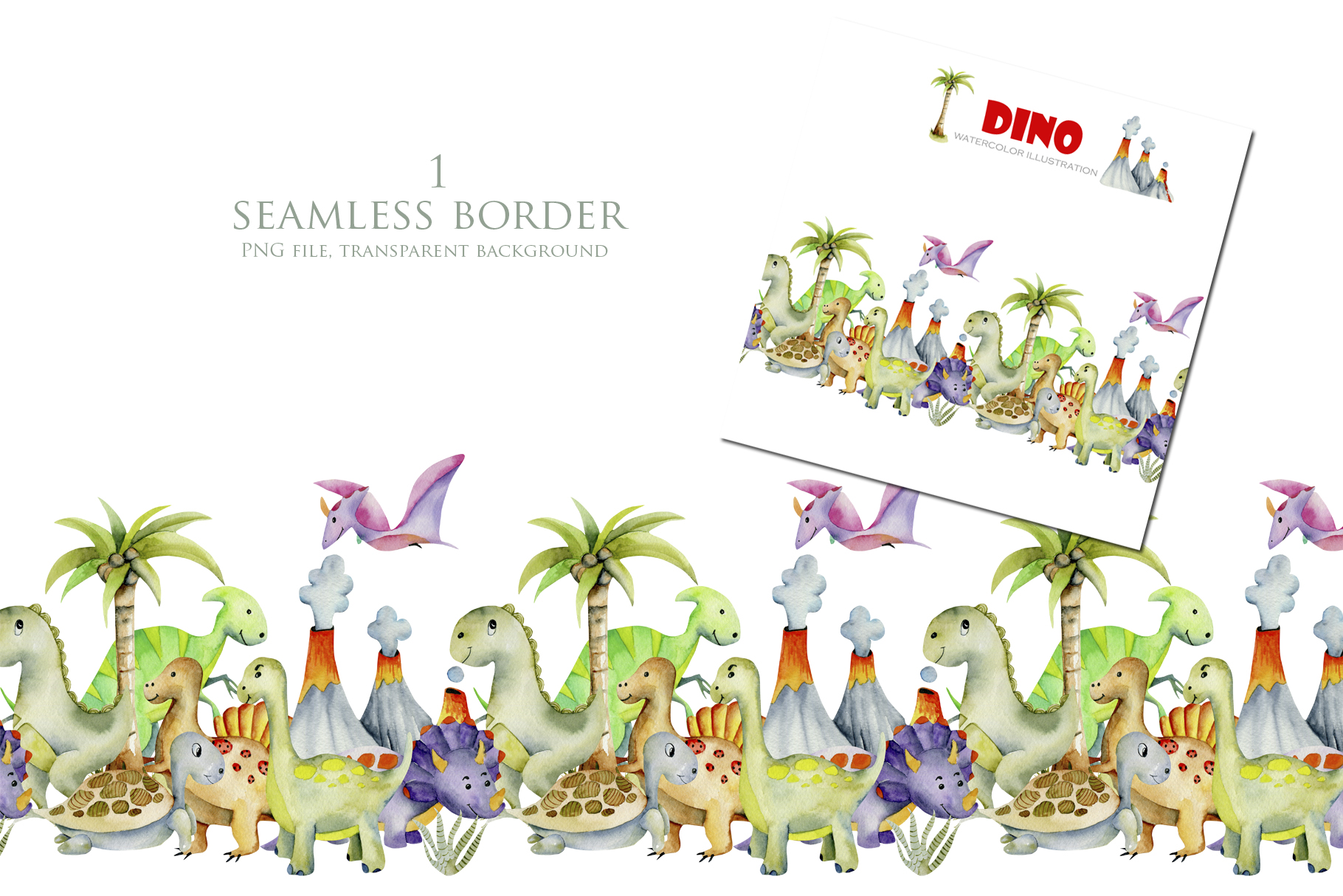 Mr.Dino. Watercolor clipart for kids example image 5