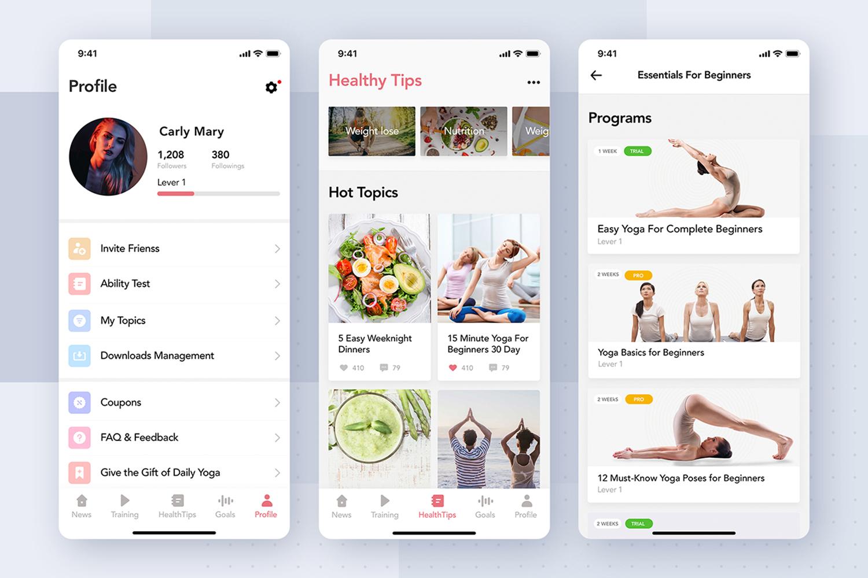 Yoga Fitness App UI Kit example image 4