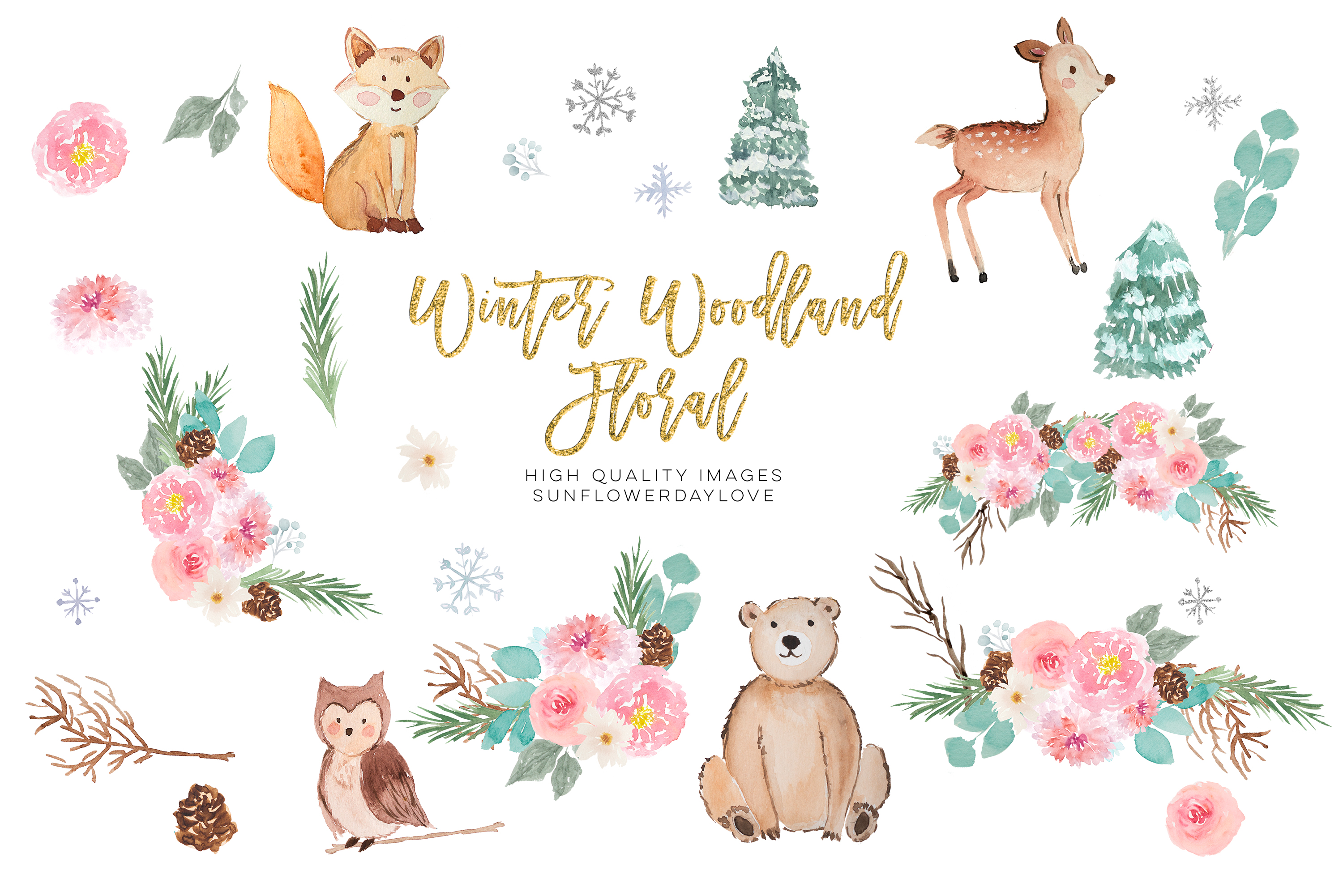 Winter Woodland Animals Clipart, Watercolor Forest Animals example image 2