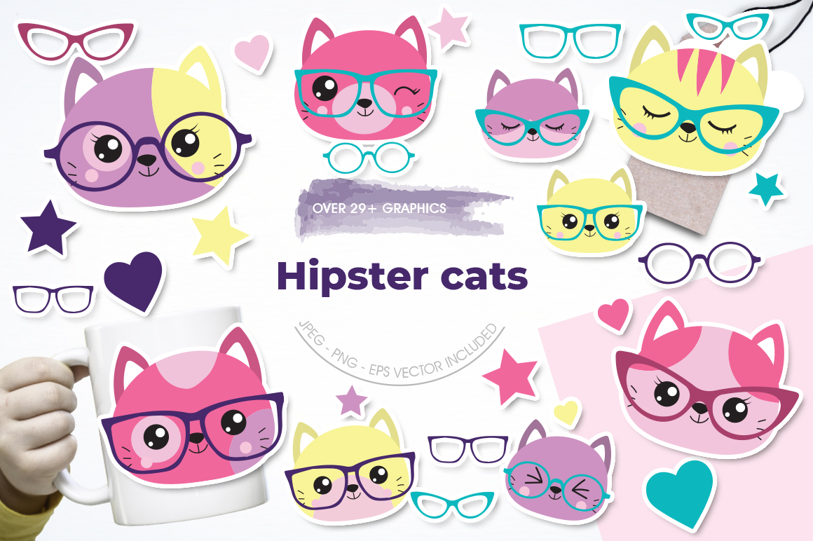 Hipster Cat graphic and illustrations example image 1