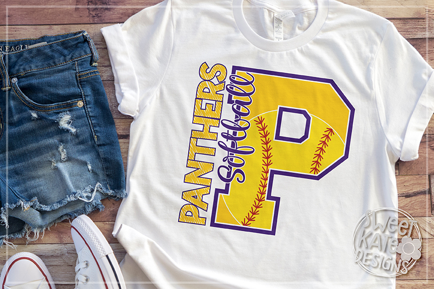 P Panthers Softball SVG DXF EPS PNG JPG example image 4