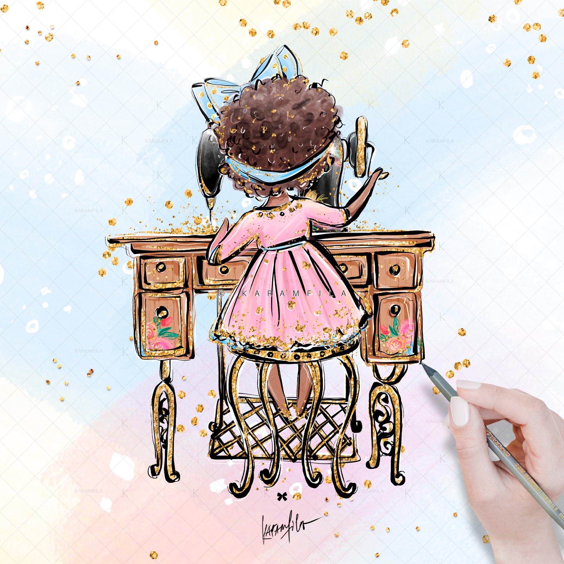 Sweing Girl Clipart example image 2