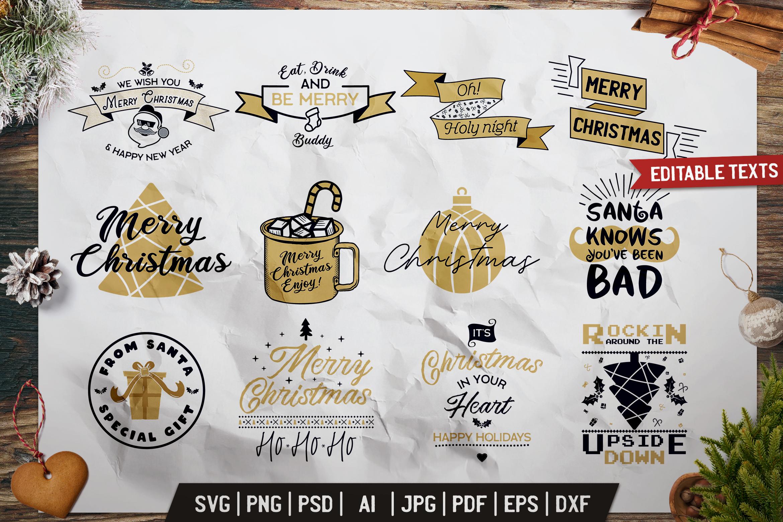 Christmas Prints Design Bundle. Vector Xmas TShirt, SVG Tees example image 1