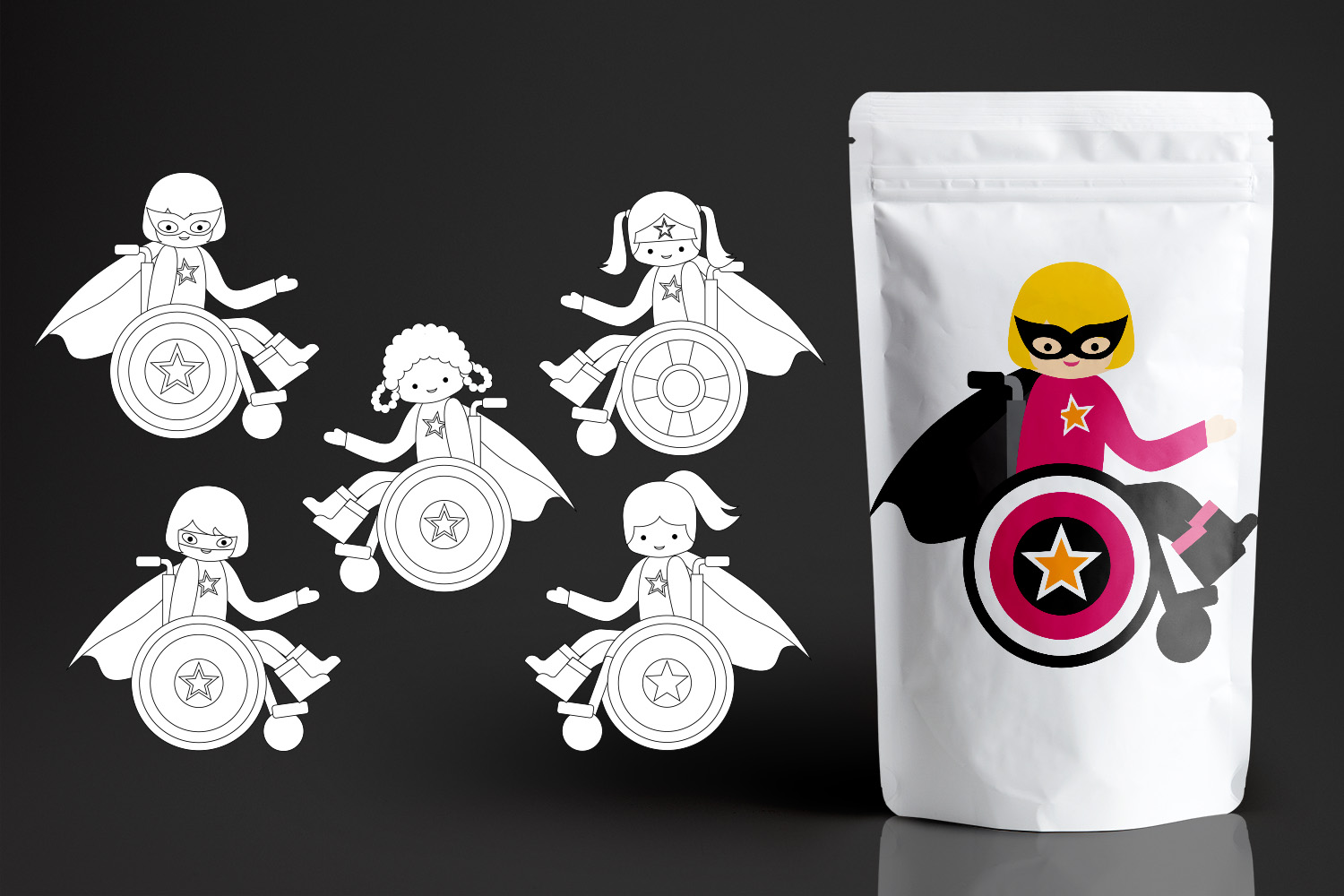 Superhero kids in wheelchairs - Disability Graphics Bundle example image 5