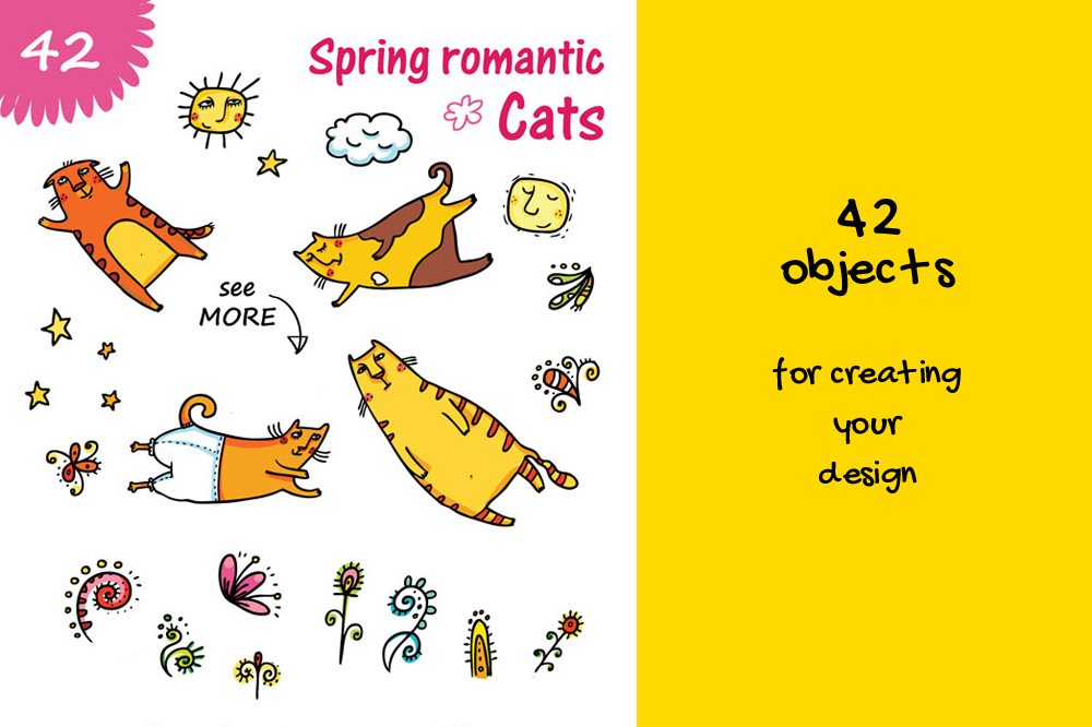 Spring Cats - 42 objects example image 2