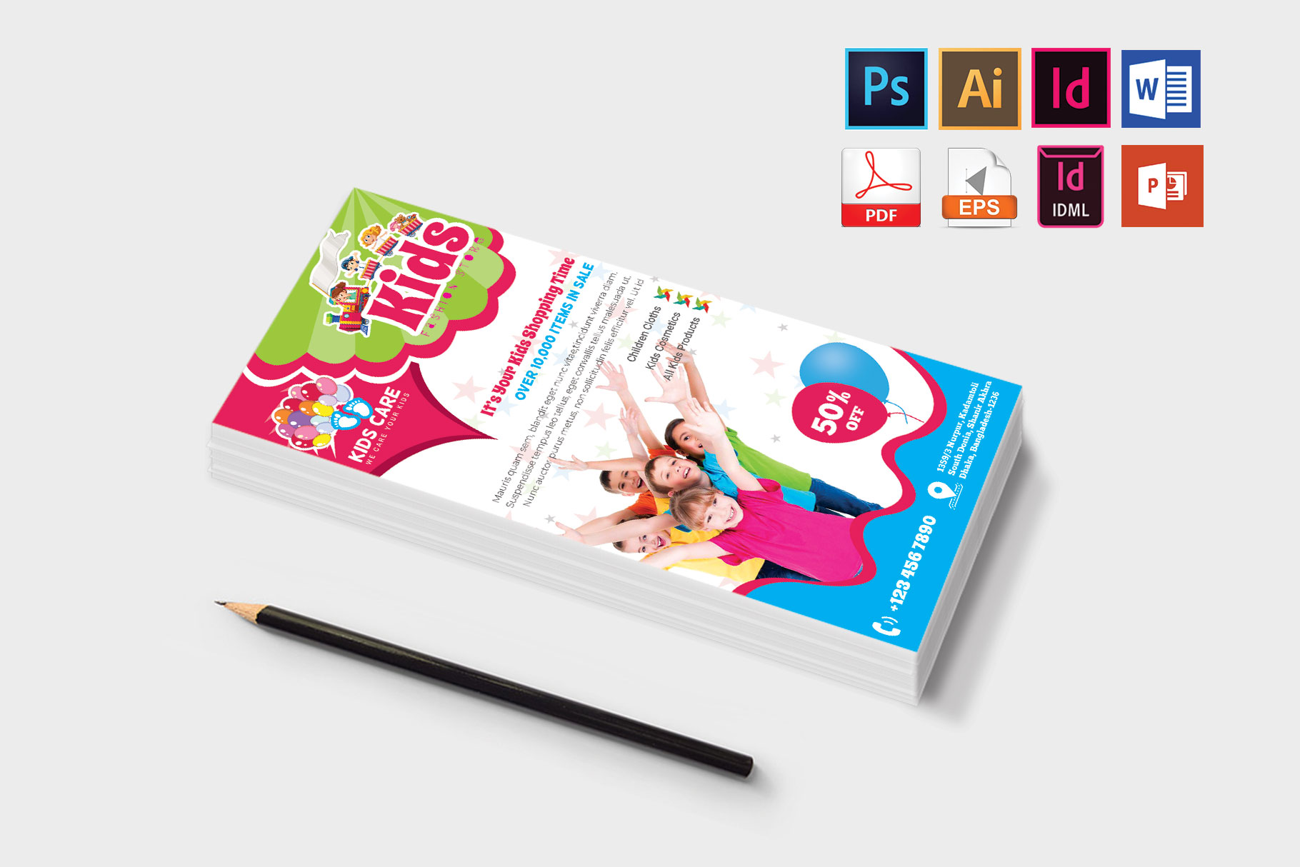 Rack Card | Kids Fashion DL Flyer Vol-02 example image 3