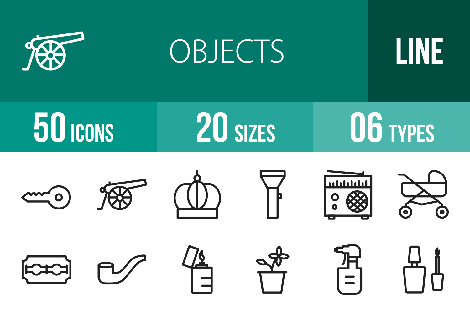 50 Objects Line Icons example image 1