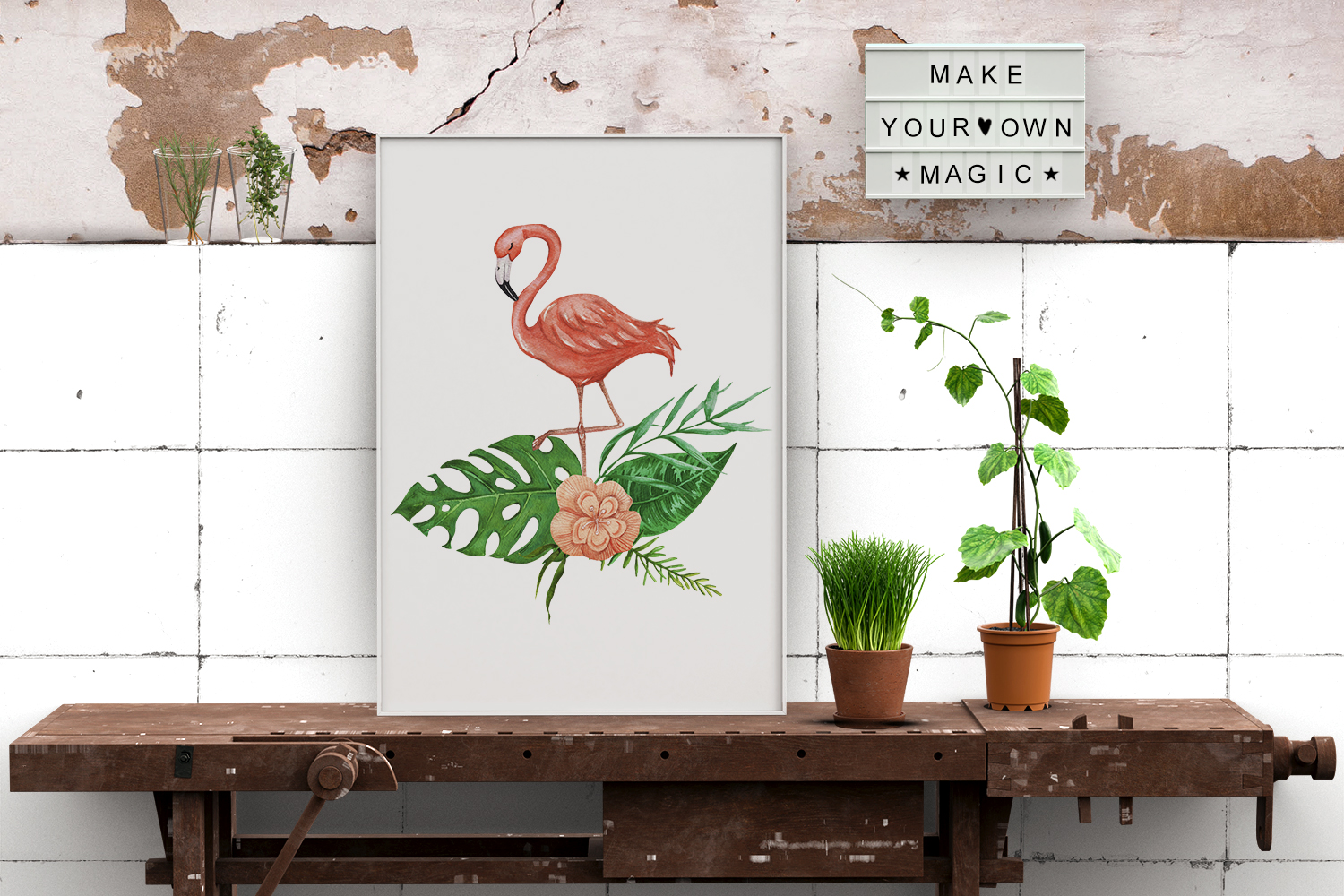 Tropical set of watercolor elements with flamingo example image 7