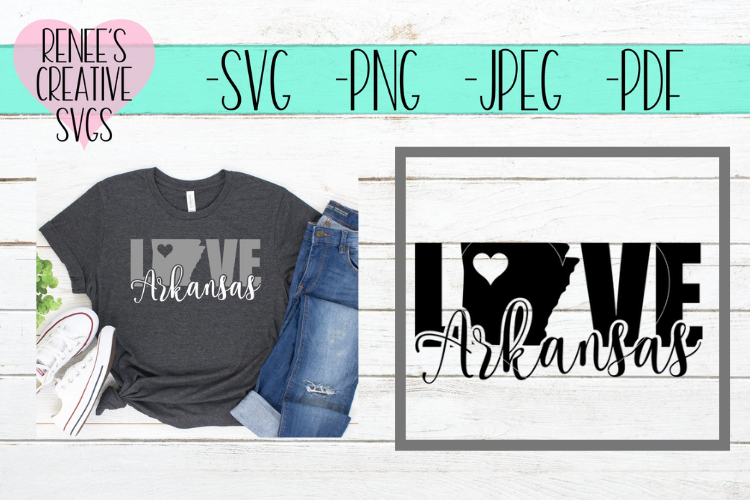 Arkansas Love | State SVG | SVG Cutting File example image 1