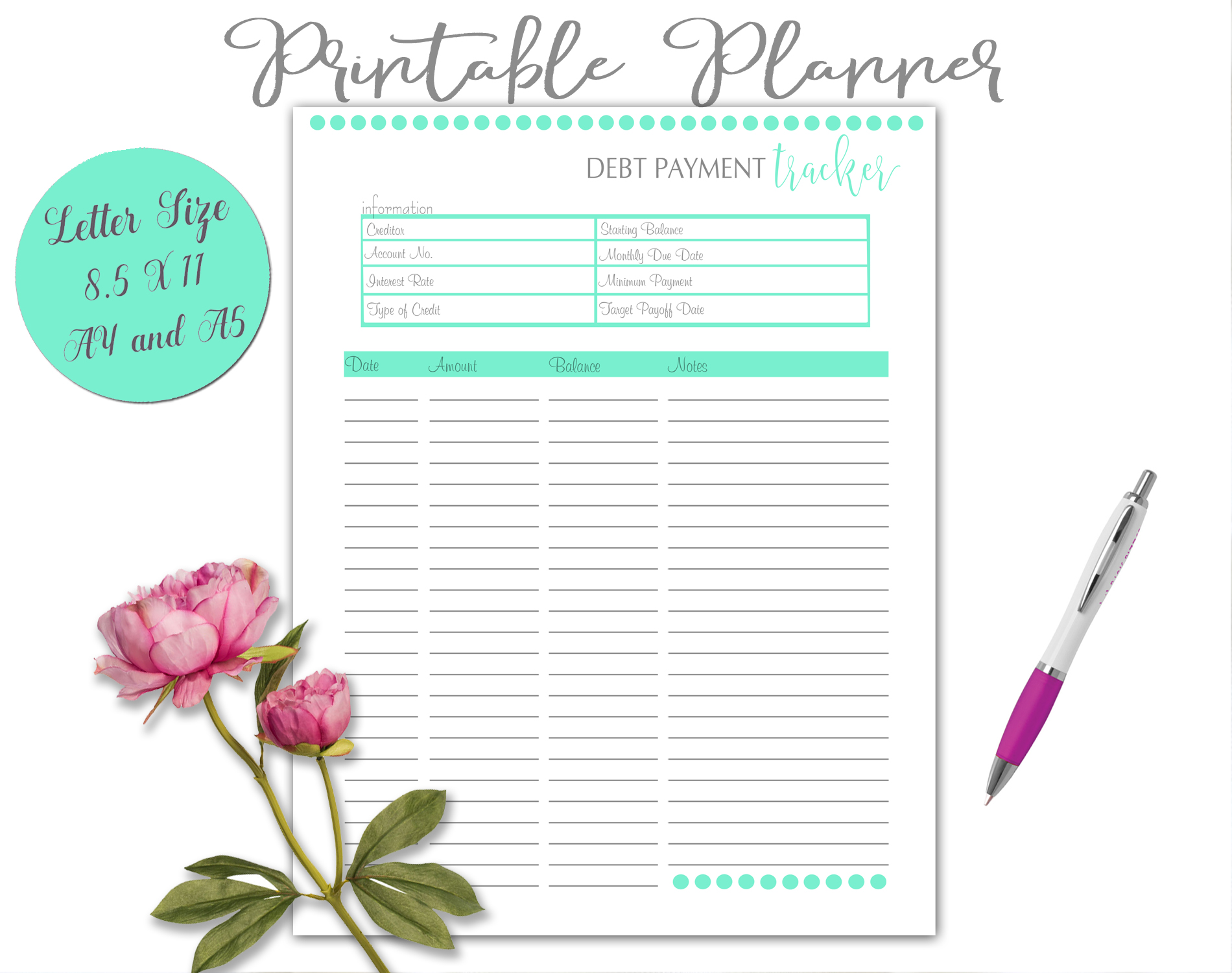 Printable Daily Weekly Monthly Planner Sheets example image 6