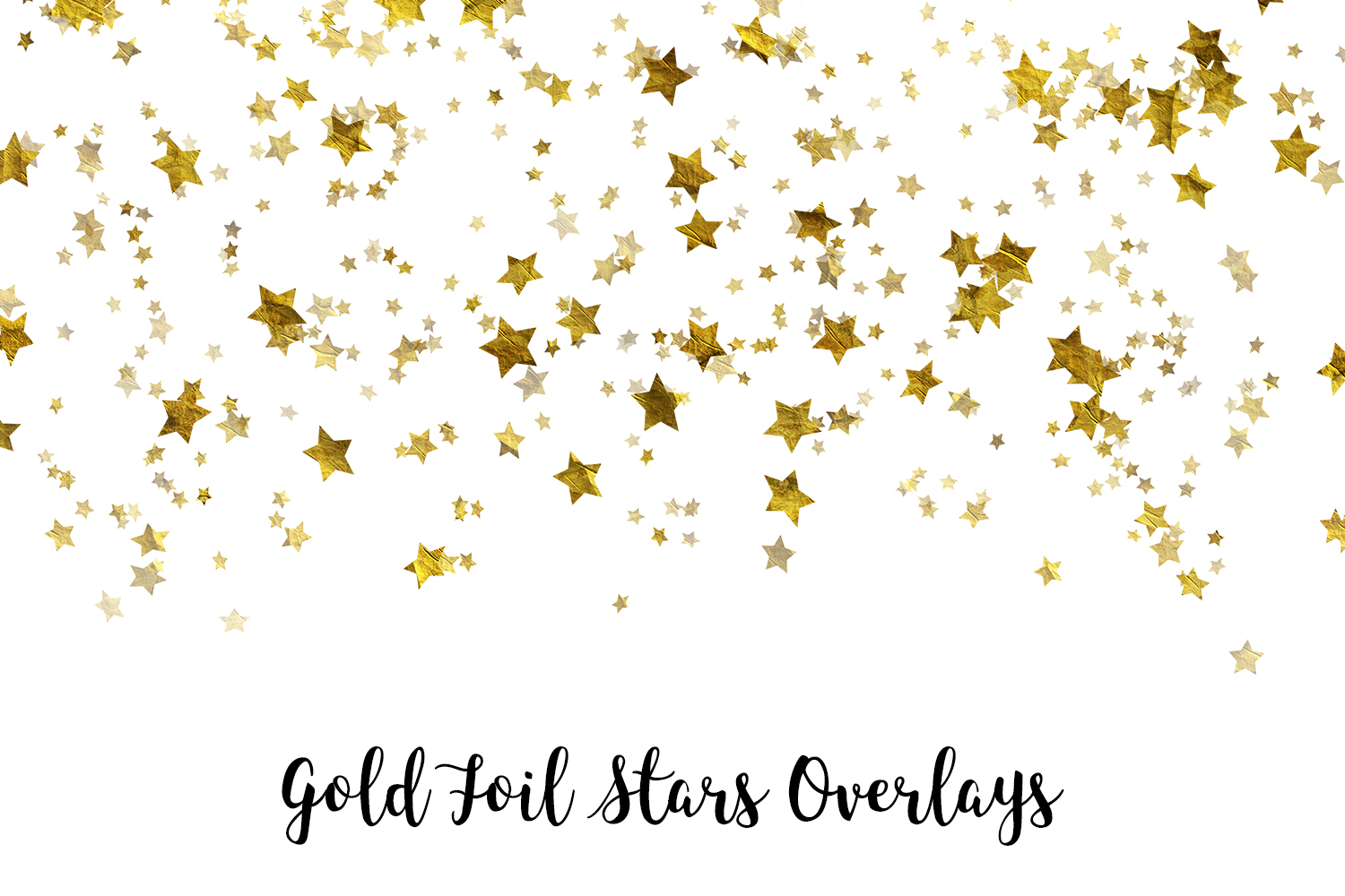 Gold Foil Stars Overlays, Gold Stars Confetti example image 1