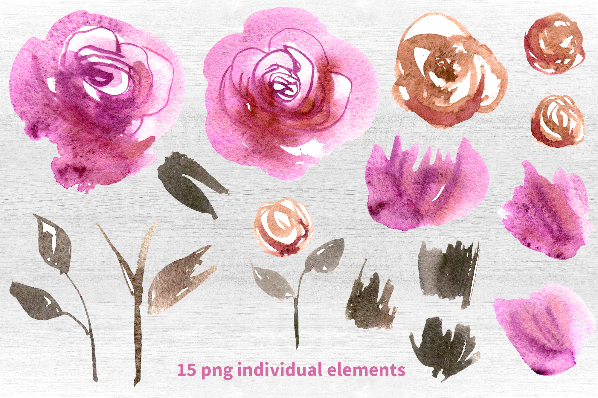 Watercolor pink roses example image 3