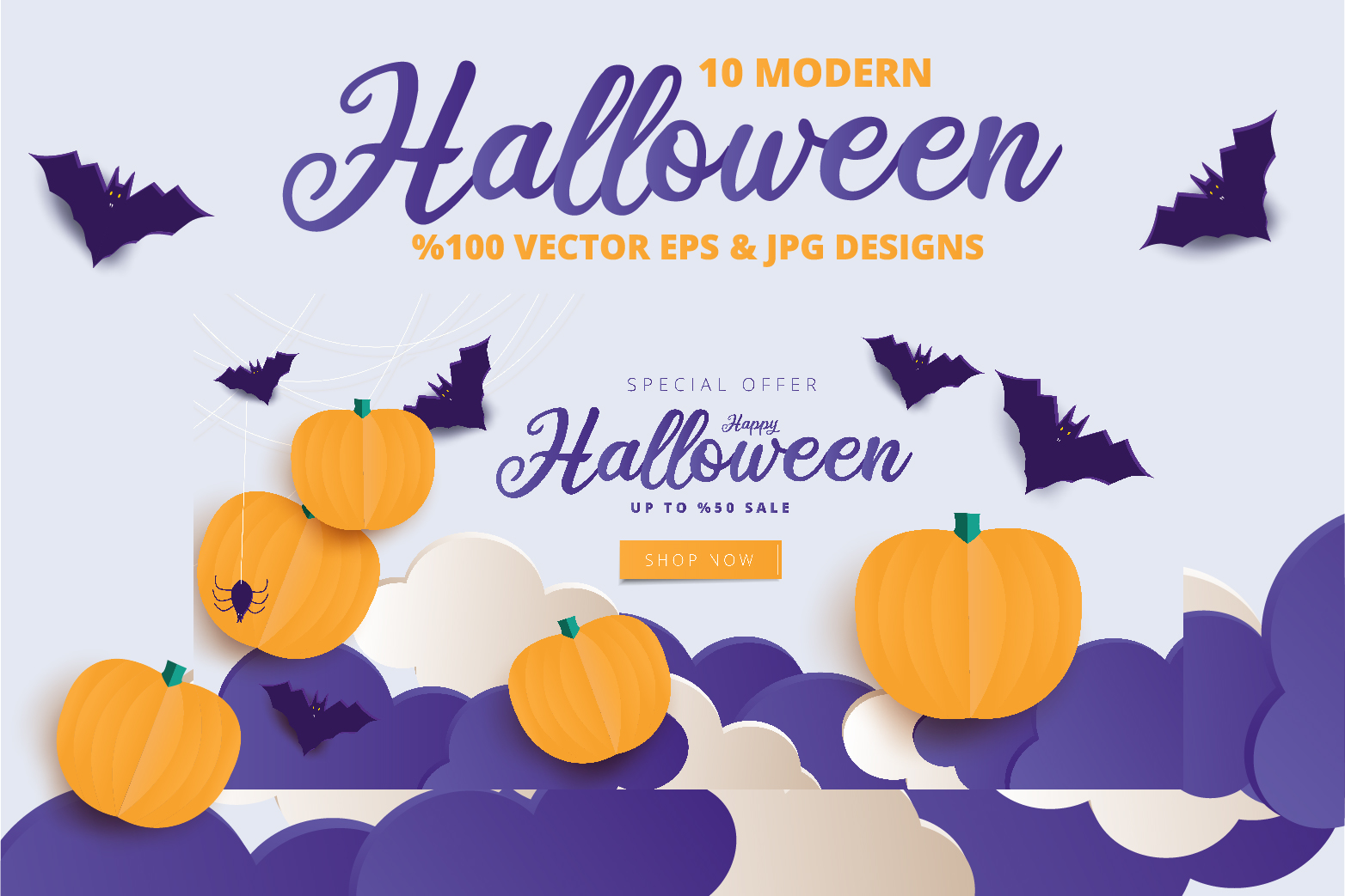 Halloween Sale header or banner design and invitation flyer example image 6