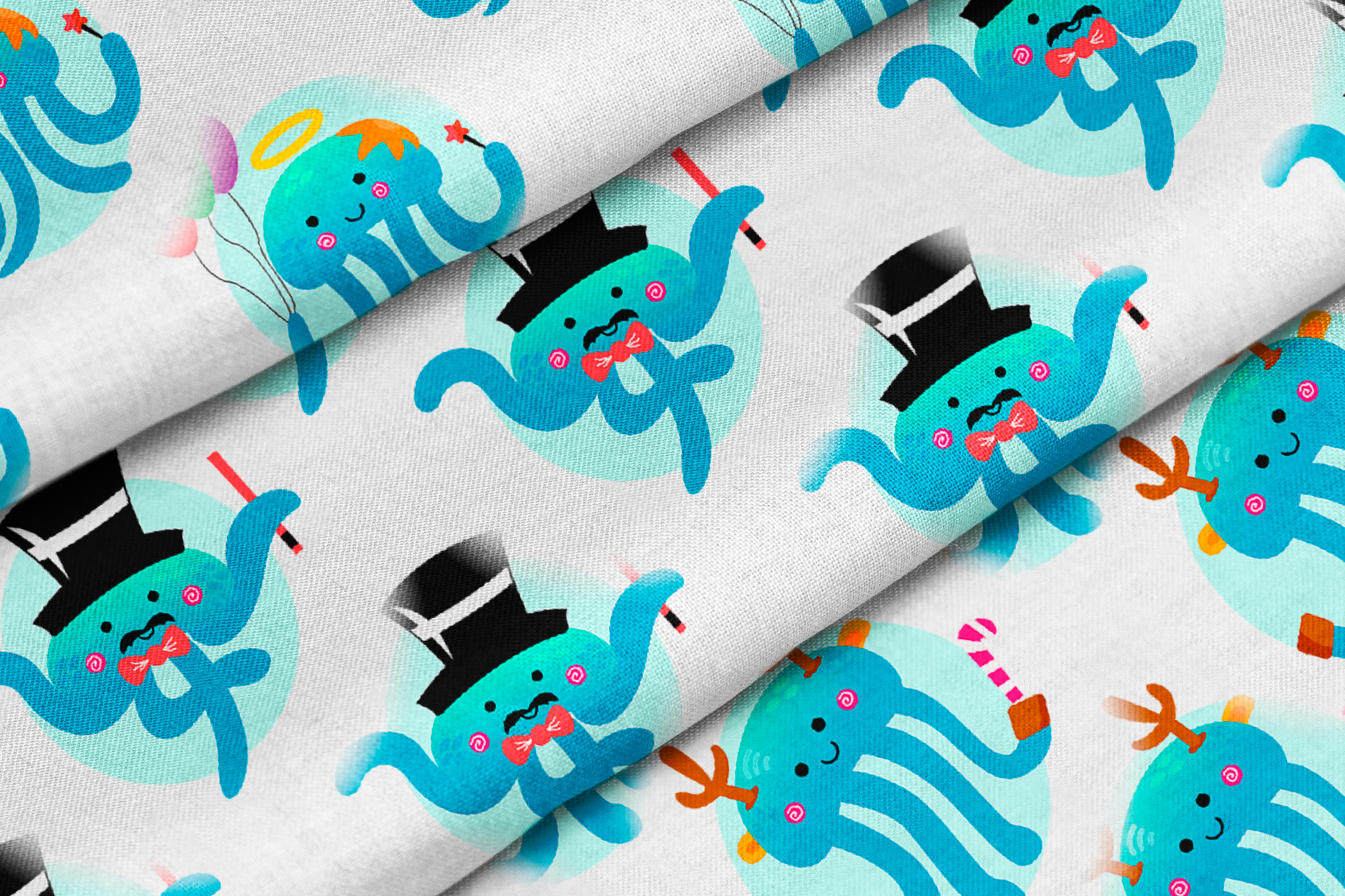 Christmas Jellyfish Watercolor Set and Vector Patterns example image 8