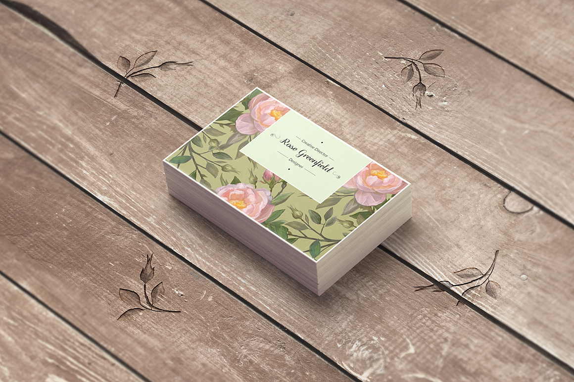 English Rose PSD Business Card Template example image 4