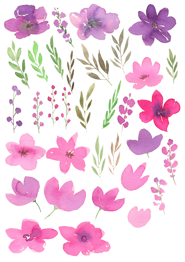 Watercolor pink purple flowers example image 2