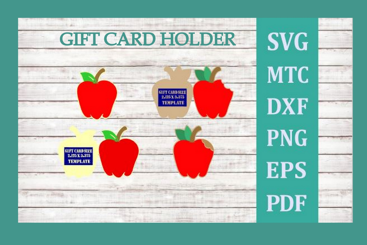SVG Gift Card Holder Apples 2 Cut Files example image 1