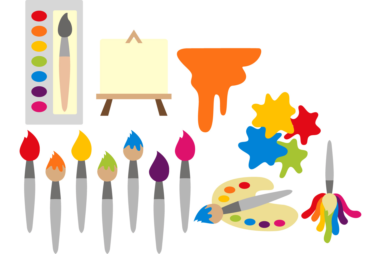 art supplies clipart painting brush design bundles rh designbundles net art supplies clipart art supplies clipart black and white