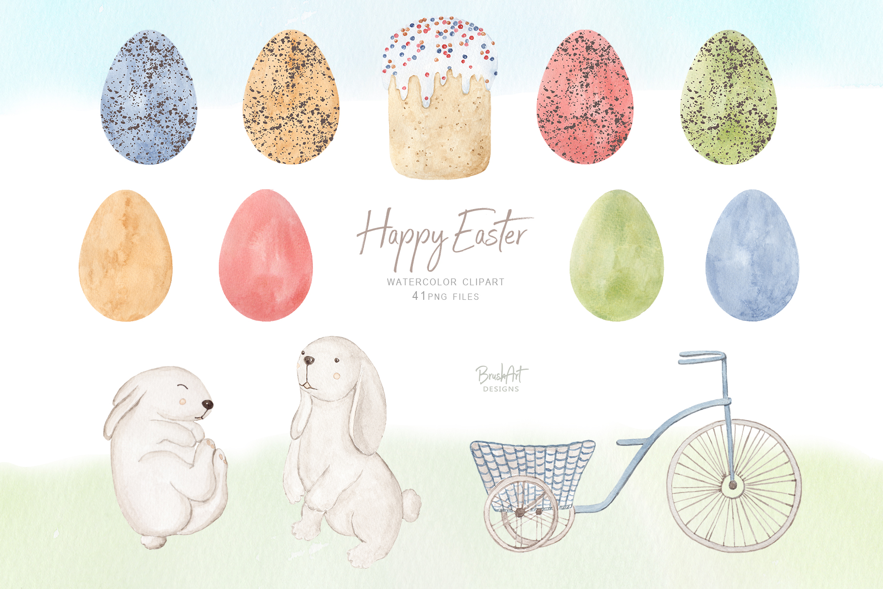 Happy Easter. Watercolor clipart. example image 2