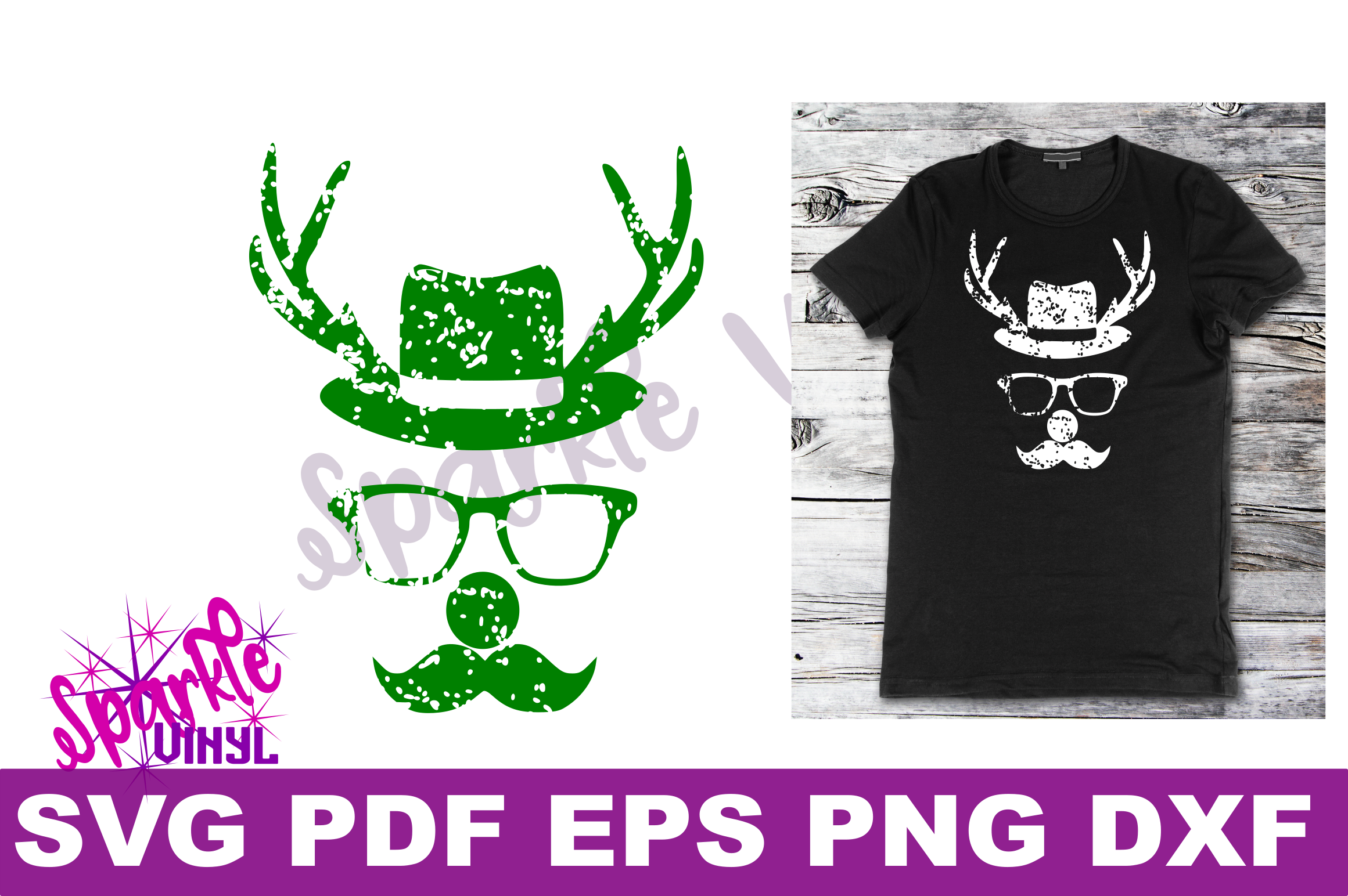 Svg Distressed Grunge Christmas vintage reindeer shirt svg files for cricut or silhouette, Reindeer with glasses red nose mustache hat svg printable example image 3