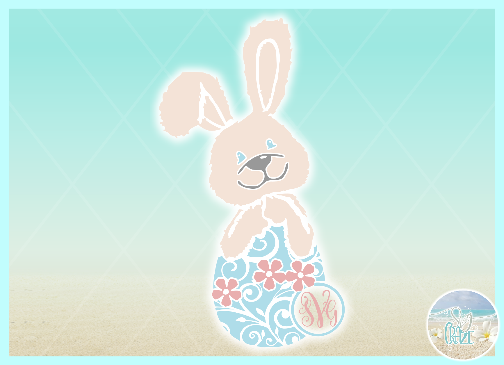 Easter Bunny Monogram SVG DXF EPS PNG PDF example image 2