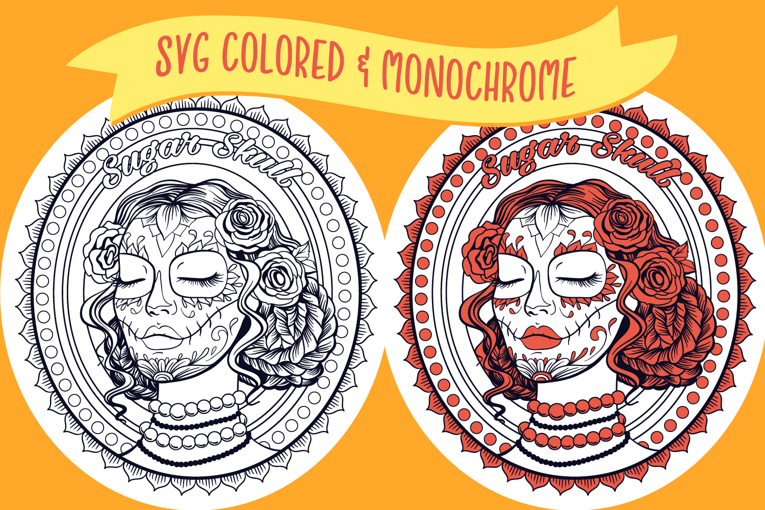 Sugar Skull Lady Coloring Page SVG cut file example image 2