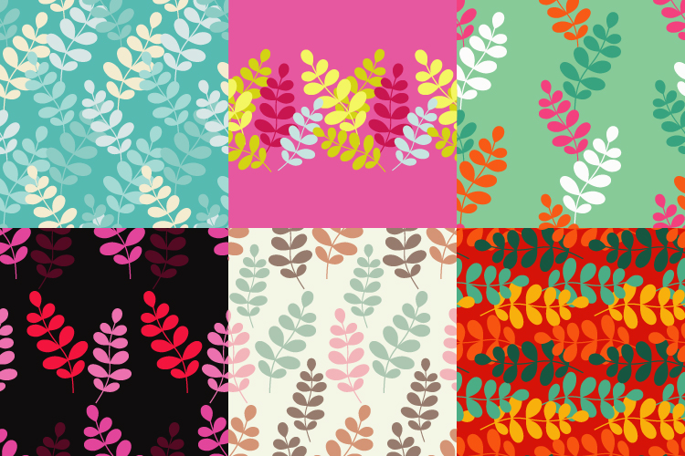 Seamless vector background with decorative branche and leaves. Pattern with plants. example image 1