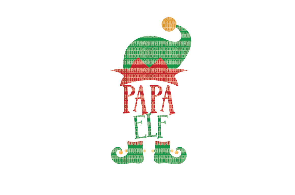 Christmas SVG File, Papa Elf, SVG Files for Cameo and Cricut Design Space, Iron on Decal, Printable Transfer, DXF Commercial Use, example image 1