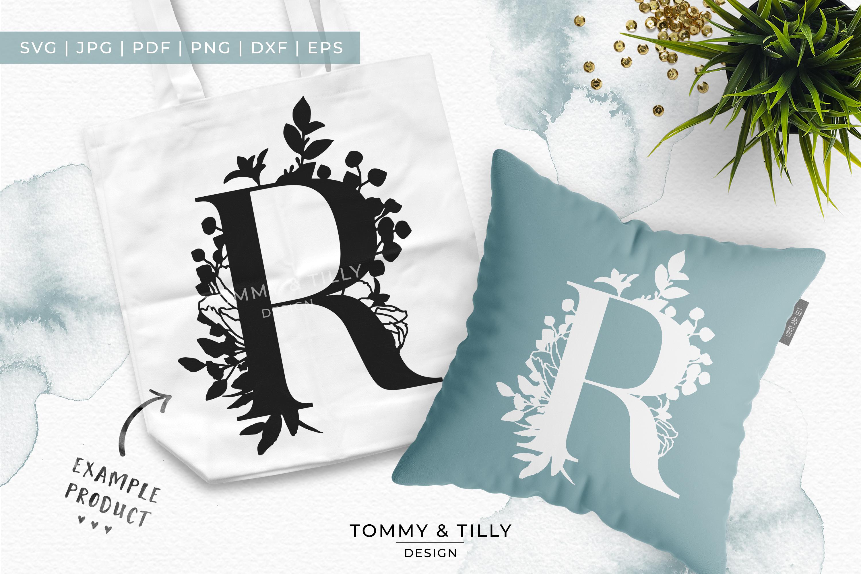 R Bouquet Letter Design - Paper Cut SVG EPS DXF PNG PDF JPG example image 5