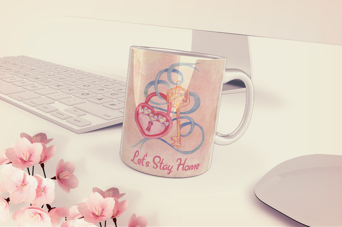Home Sweet Home. Keys, floral watercolor wonderland collection example image 11
