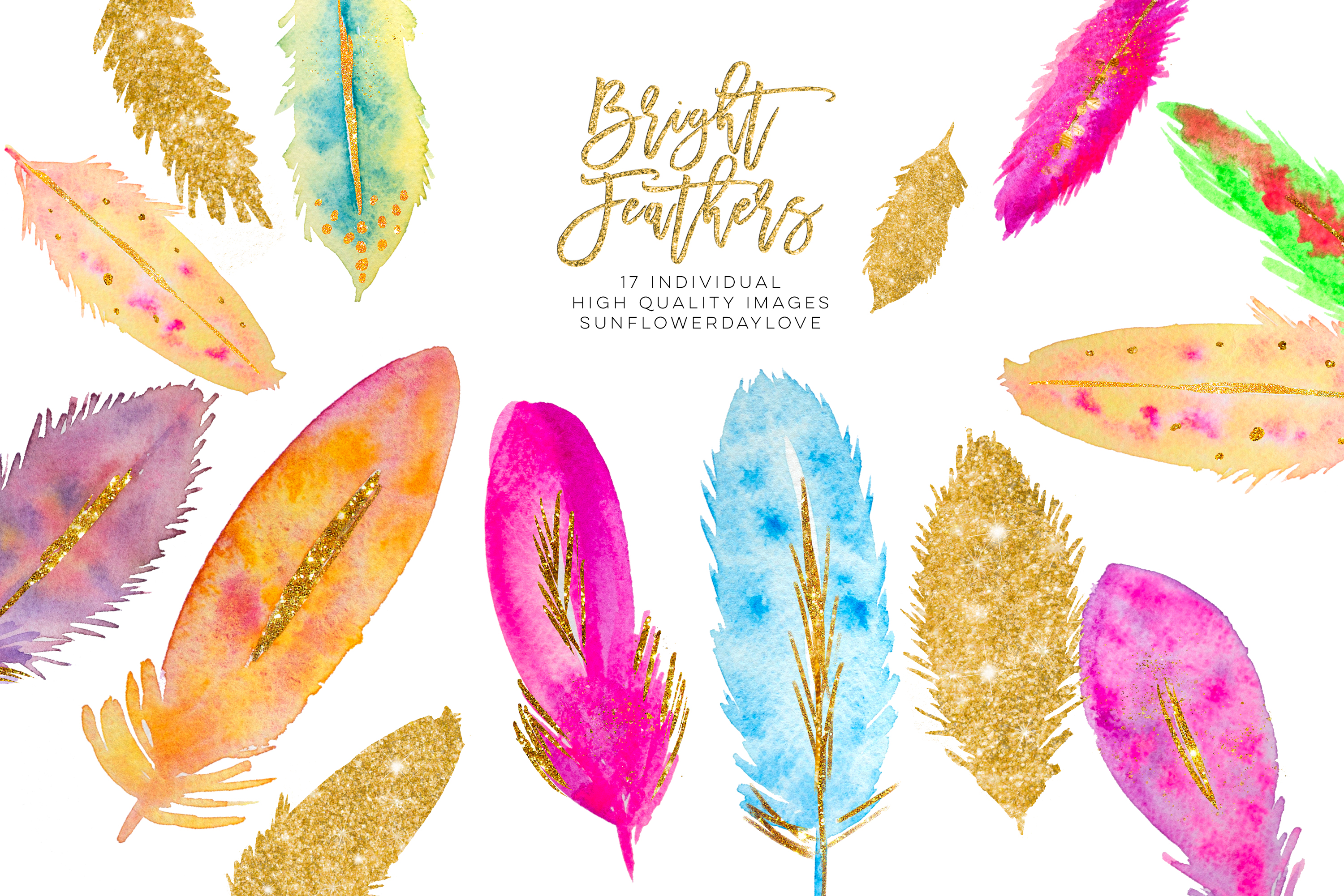 Watercolor Feathers clipart Download example image 3