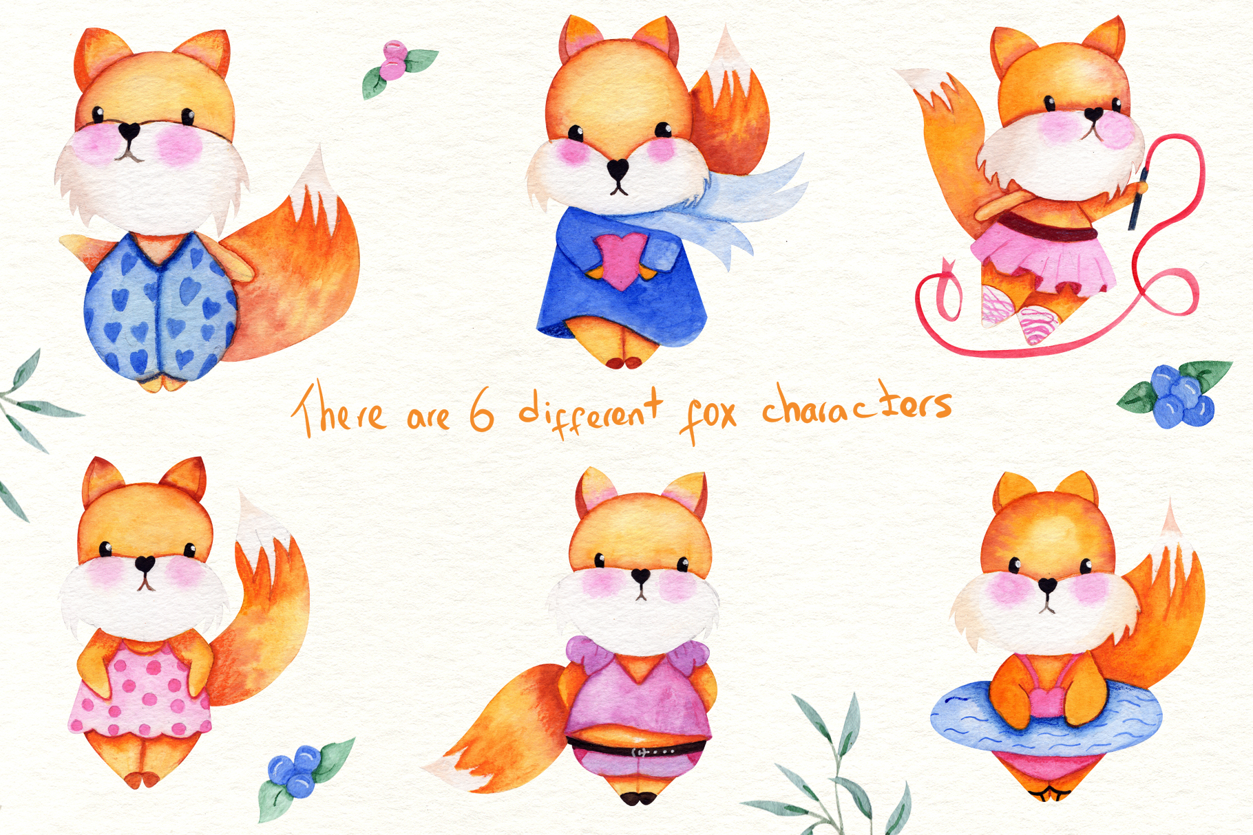 Watercolor Foxes Collection example image 2