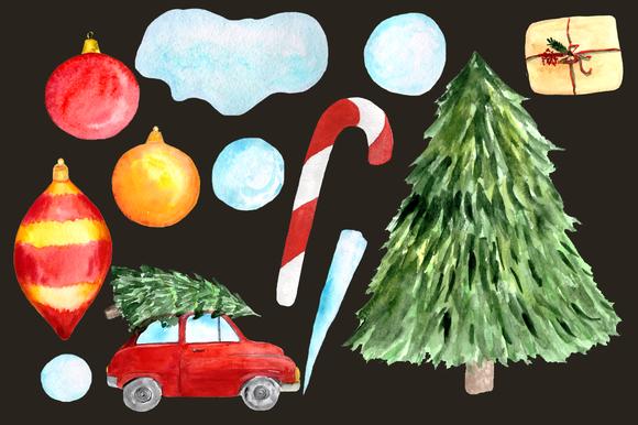 Winter Joy - 35 Watercolor Set example image 4