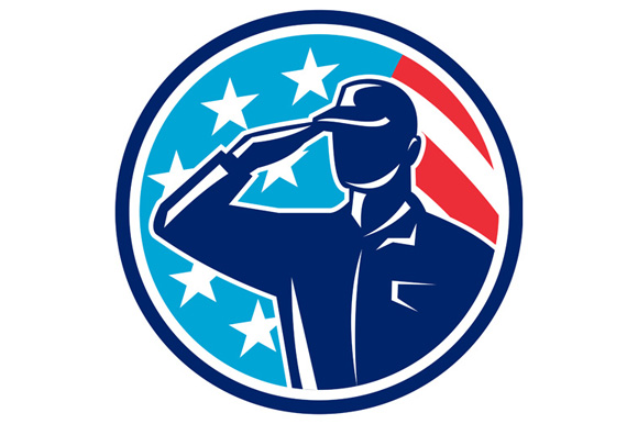 American Soldier Serviceman Saluting Flag Circle Retro example image 1