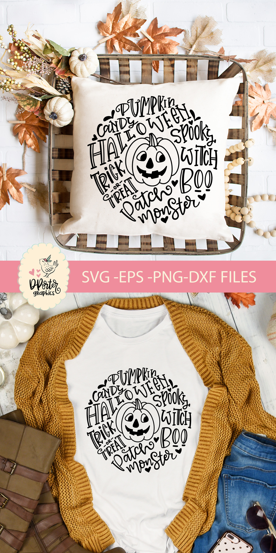 Halloween pumpkin typography svg, trick or treat svg example image 3