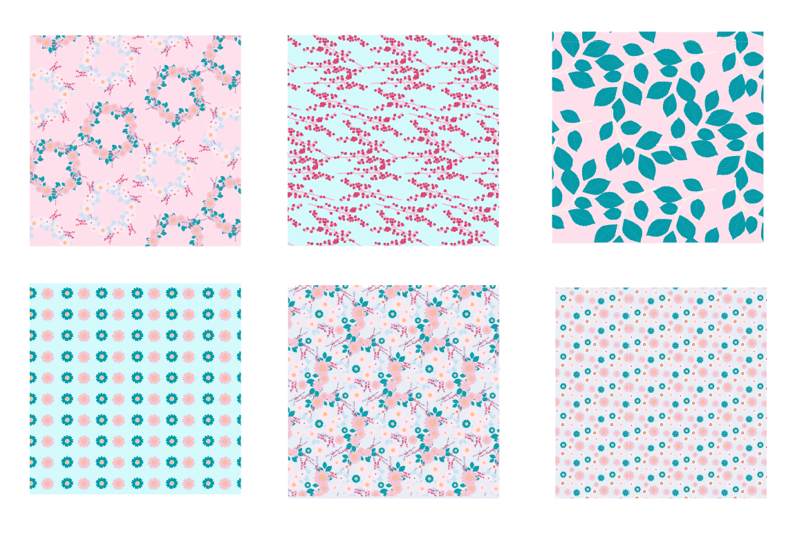 Lovely Blossoms Pattern collection, vector ai, eps and jpeg example image 3