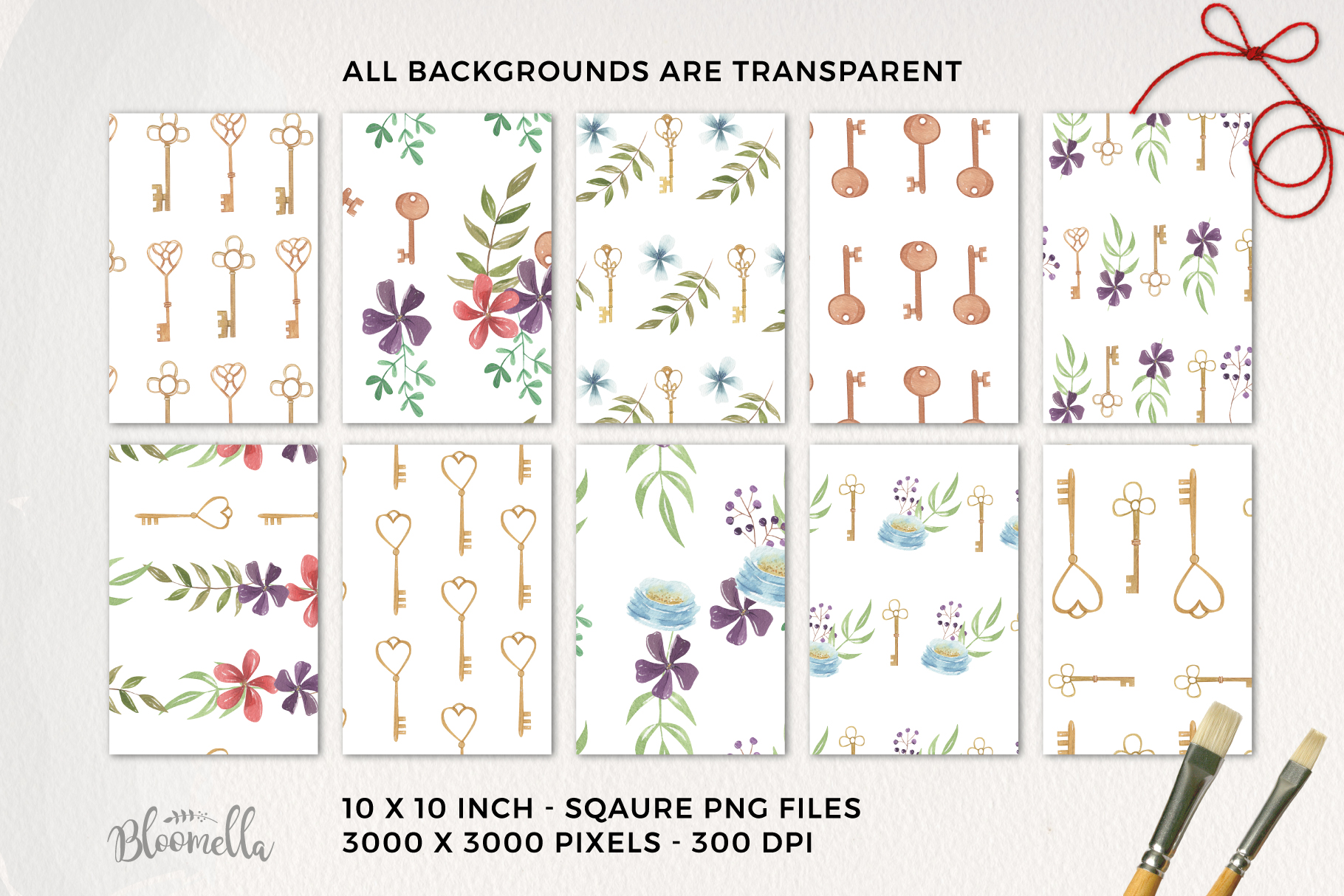 Keys Vintage Flowers Florals 10 Seamless Patterns Digital example image 3