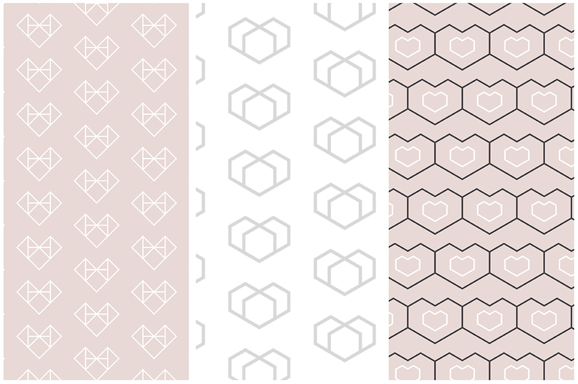 Geometric Hearts Patterns example image 4