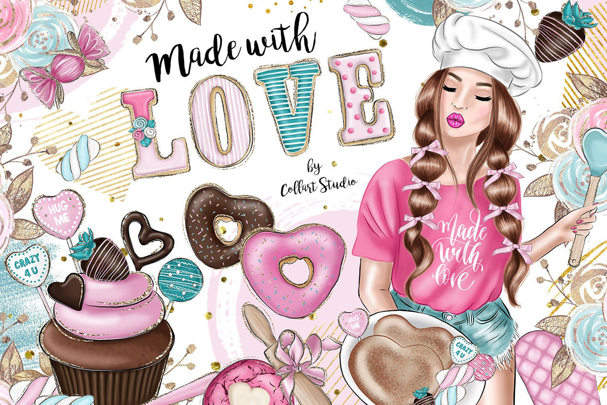 Valentine's Day Clip art, sweets clipart, love desserts example image 1