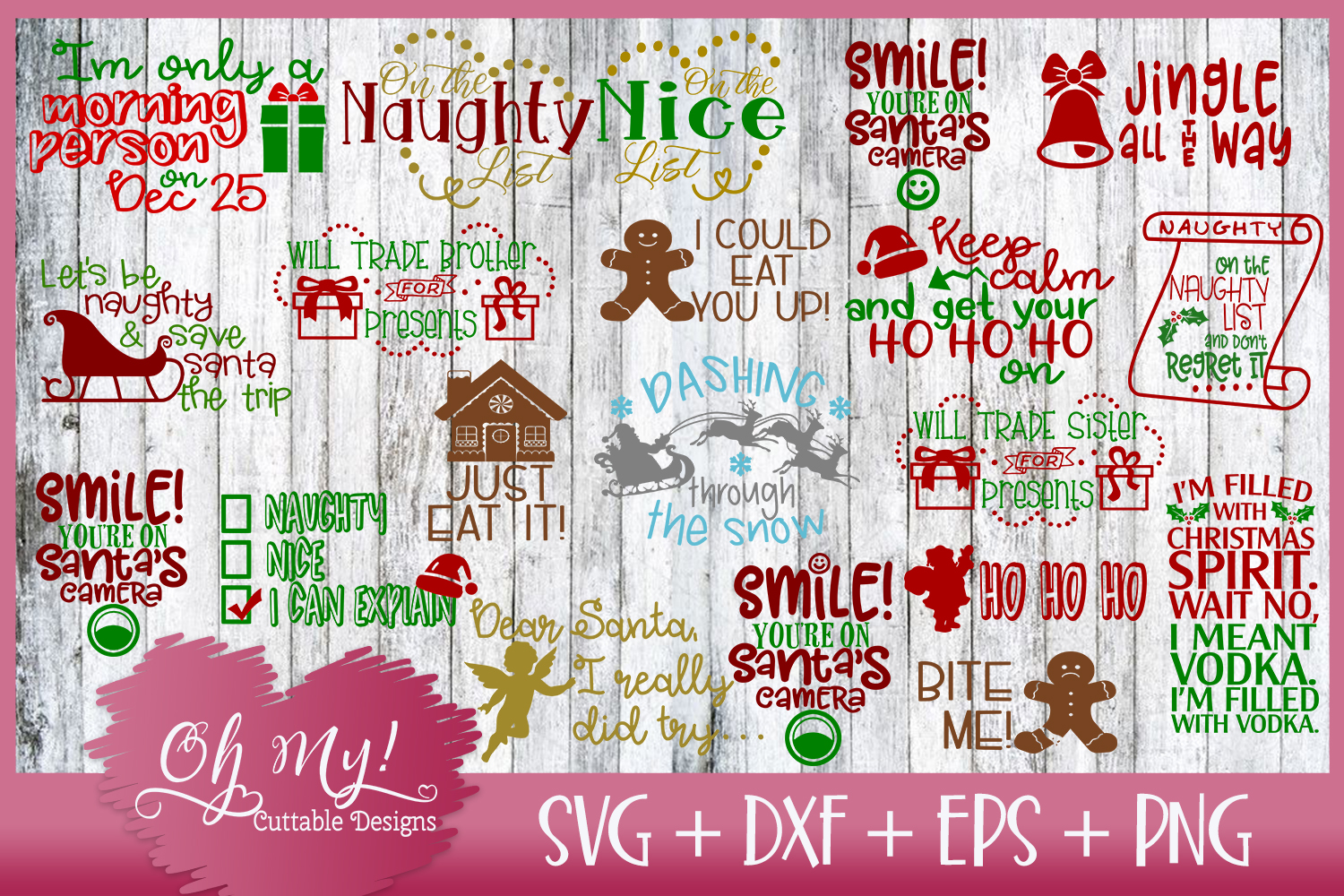 Christmas Bundle 20 Designs SVG EPS DXF Cutting Files example image 1