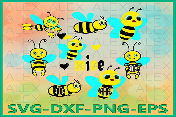 Bee Svg, Bees Frame SVG File, Bee Monogram Frames example image 1
