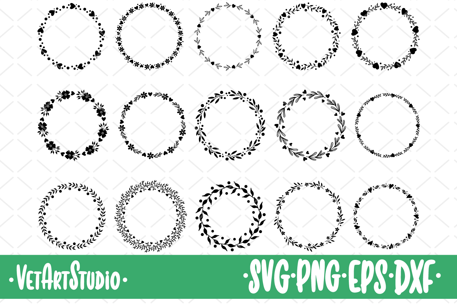 15 Round frames, circle floral frame SVG, round ornaments example image 1