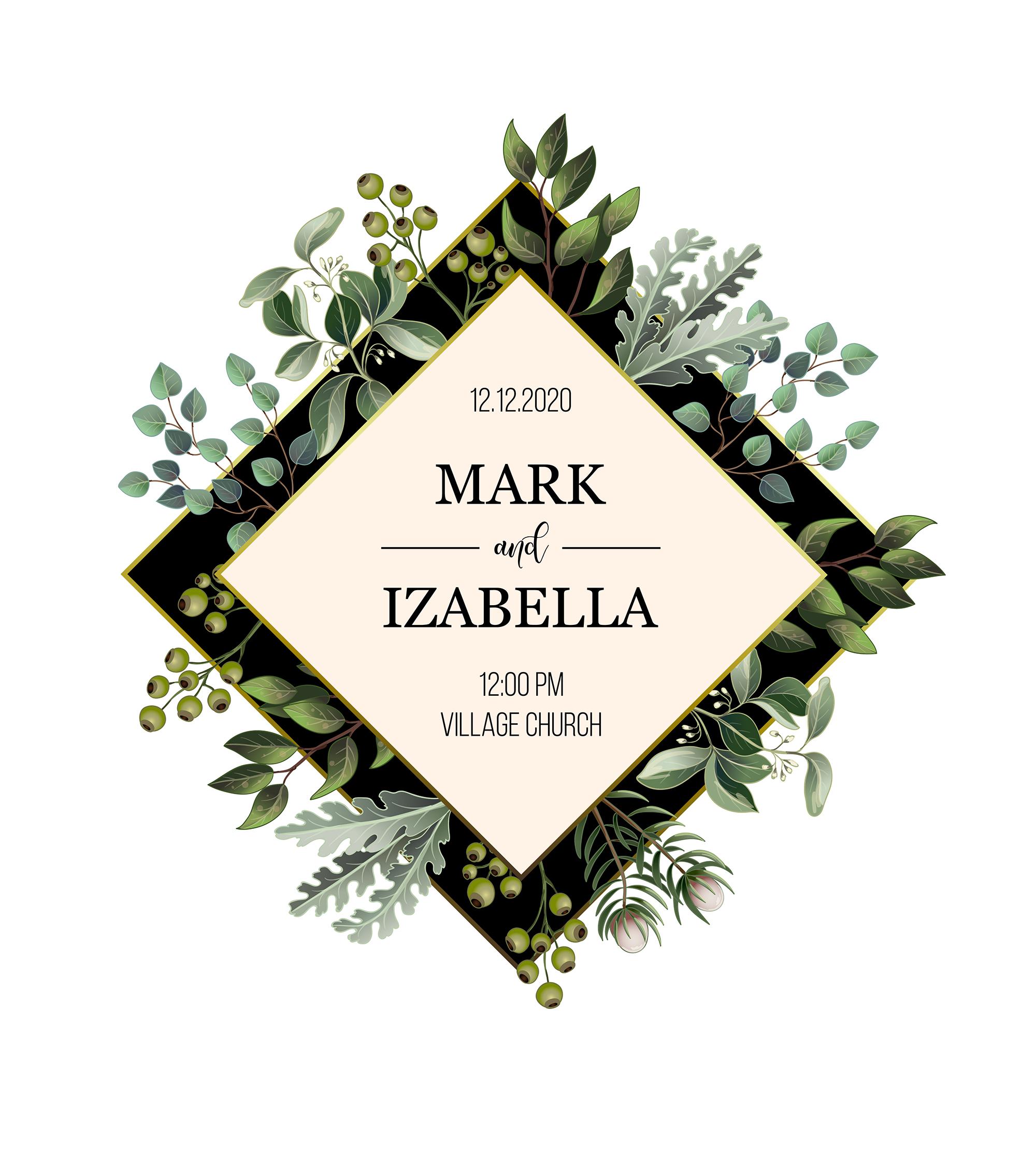 Wedding greenery invitation, patterns and isolated elements example image 3
