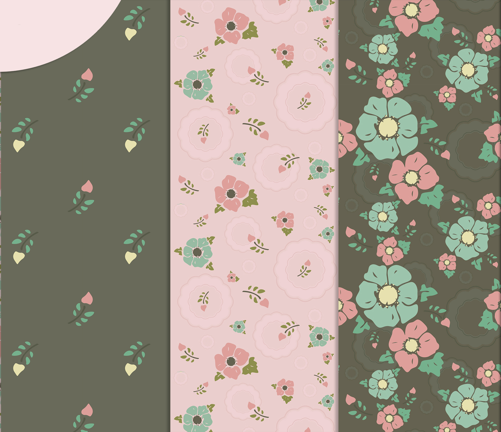Vintage flowers, Gray and Pink Digital Paper example image 2