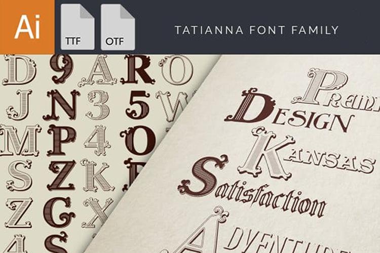 Tatianna   Vintage Font Family example image 2