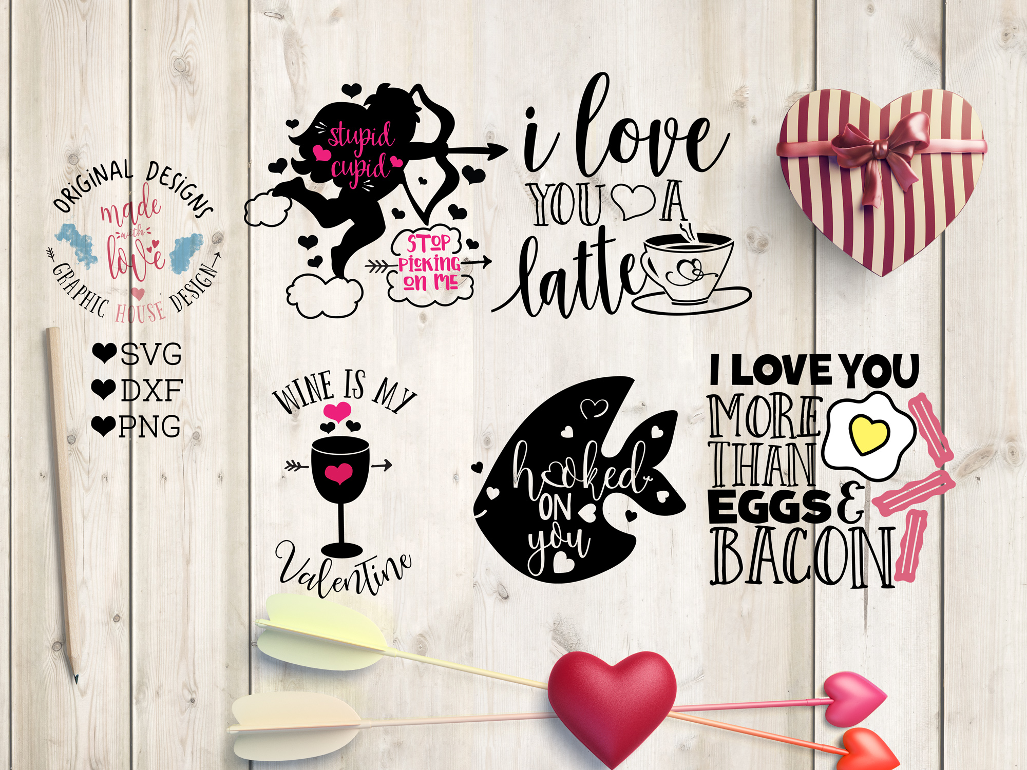 Love Valentines Cut File Bundle in SVG, DXF, PNG example image 3