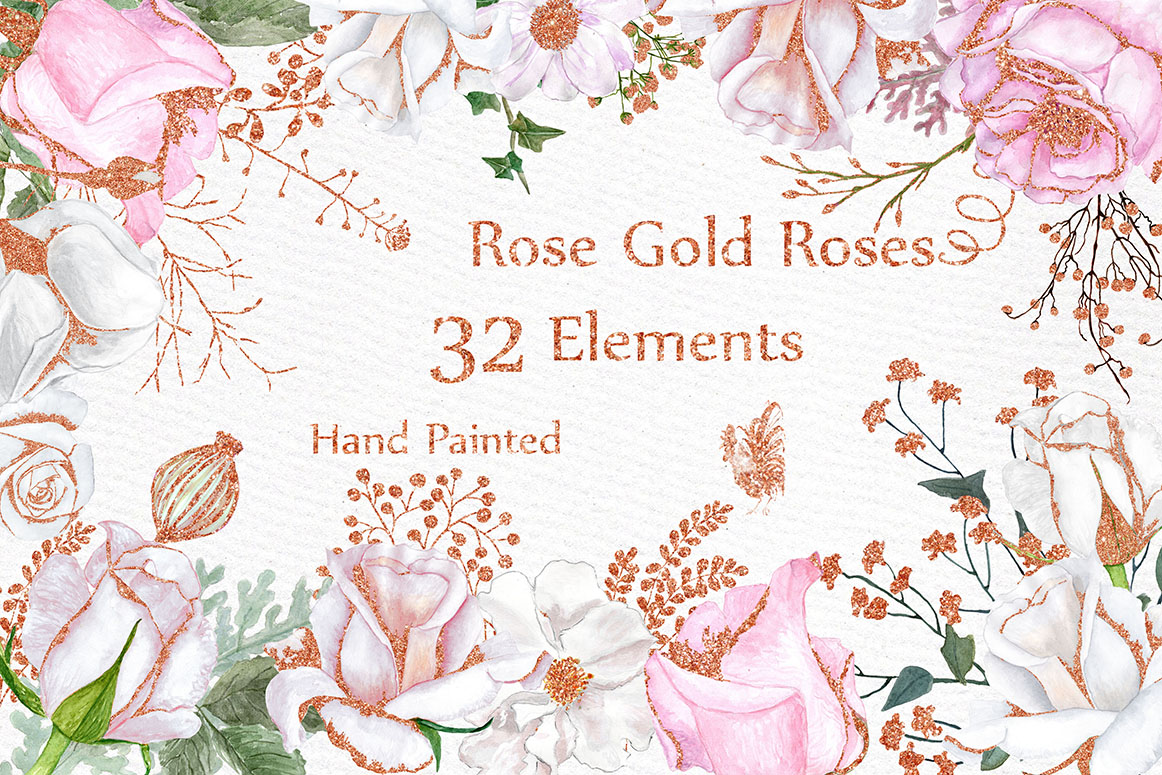 Rose Gold watercolor flowers clipart example image 1