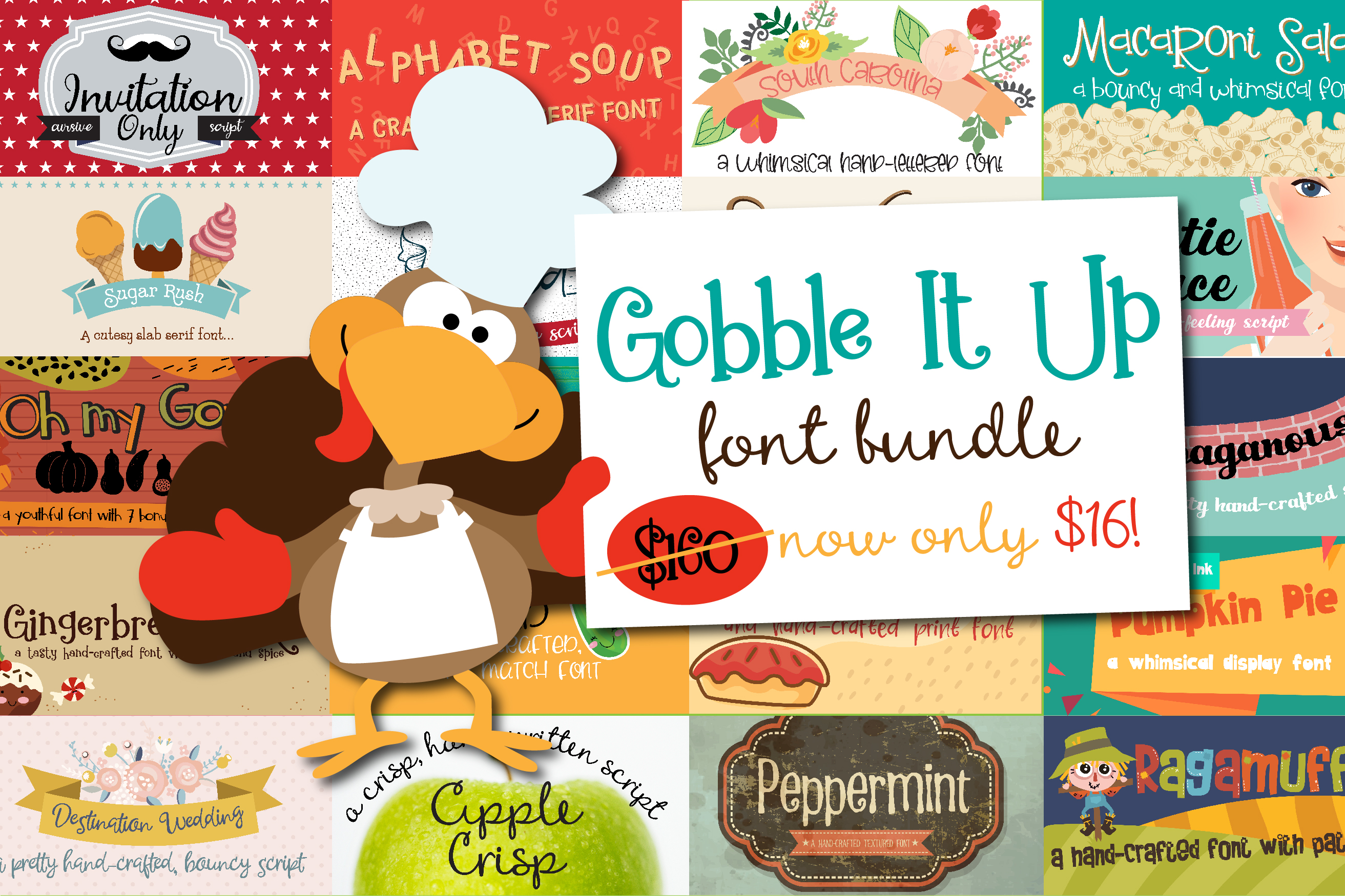 Gobble It Up Font Bundle example image 1