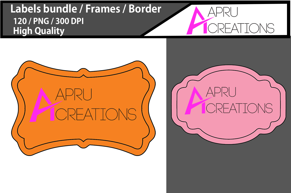 Empty Labels and Frames / 120 blank labels bundle example image 2