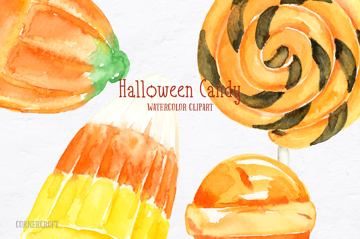 Watercolor Halloween Candy example image 6